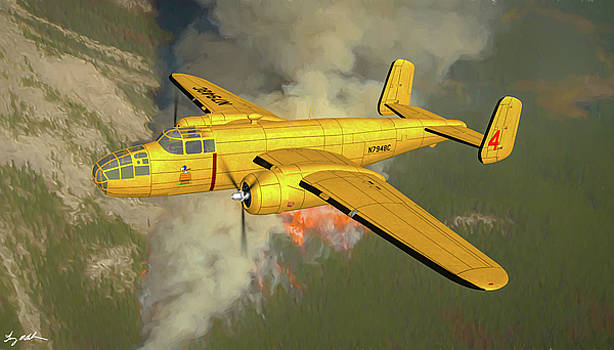 B-25 Mitchell Fire Tanker 4 - Oil by Tommy Anderson
