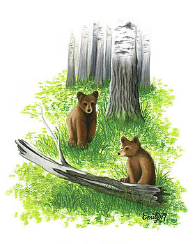 Baby Bears and Birch Trees by Emily MacDonald