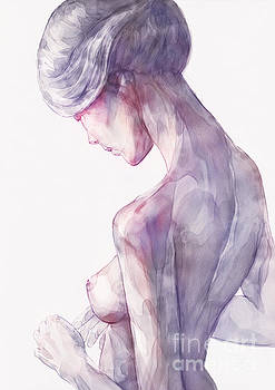 Dimitar Hristov - Back Side Watercolor Portrait of a Girl
