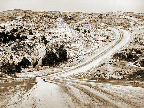 Badlands Road with Snow by Cris Fulton