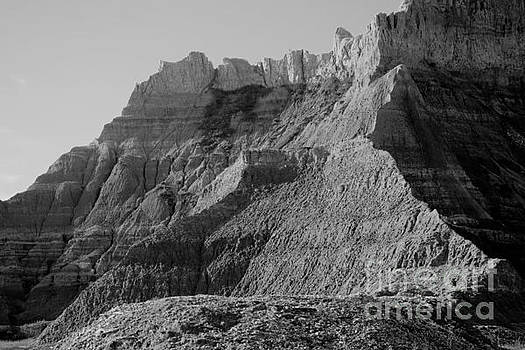 Badlands South Dakota black and white by Jeff Swan
