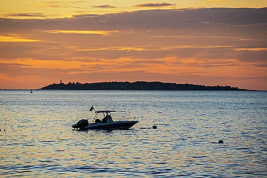 Toby McGuire - Baker Island Lighthouse From Rice Beach Beverly MA at Sunrise Boat
