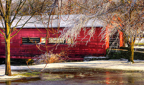 Baker Park, Carroll Creek Covered Bridge - Shelter From the Storm No. 1, Winter - Frederick MD by Michael Mazaika