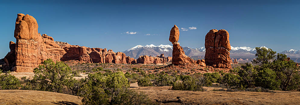 Balanced Rock and the La Sal Mountain Range by David Morefield