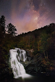 Bald River Falls Milky Way by Dennis Sprinkle