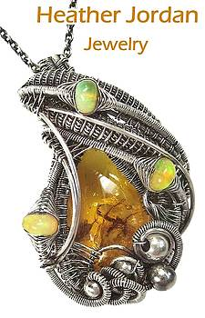 Baltic Amber Pendant with Spider and Fly Inclusions in Sterling Silver and Ethiopian Welo Opals by Heather Jordan