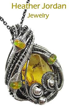 Baltic Amber with Mosquito Inclusion Pendant in Antiqued Sterling Silver with Ethiopian Welo Opals by Heather Jordan