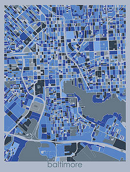 Baltimore Map Retro 5 by Bekim M