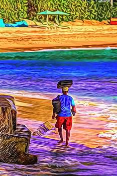 Barbados Beach Vendor Art by David Pyatt