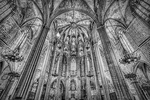 Barcelona City Cathedral Monochrome by David Pyatt