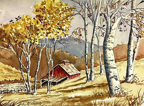 Barn and Birches by Raymond Edmonds