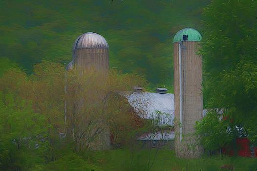 Barn and silos by Alan Goldberg