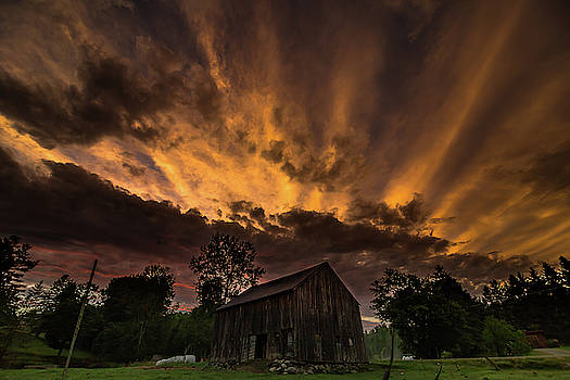 Barn and Summer Sunset by Tim Kirchoff