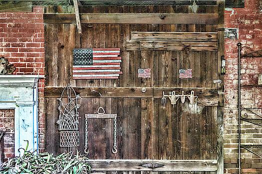 Sharon Popek - Barn Door with Flags
