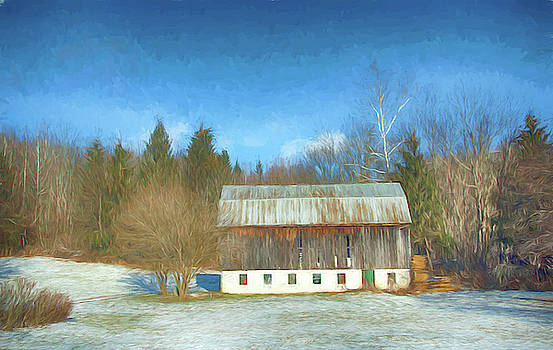 Barn in snow by Alan Goldberg