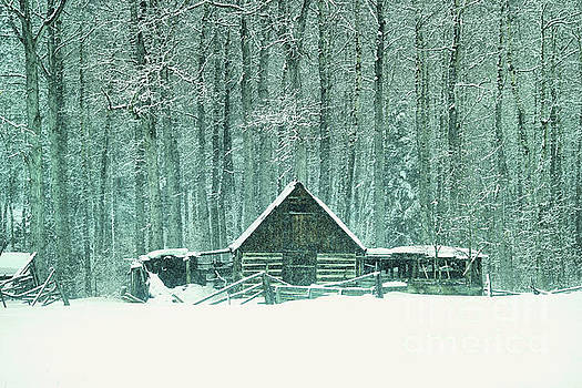 Barn in snowfall by Jeff Swan