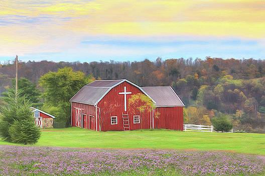 Barn with Cross by Sharon Batdorf