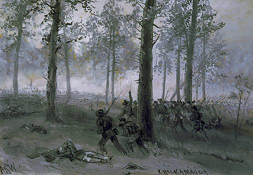 Battle Of Chickamauga - Confederat Line Advancing by Alfred Waud