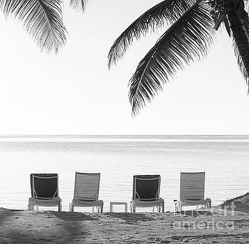 Tim Hester - Beach Chairs Vintage Background Black and White