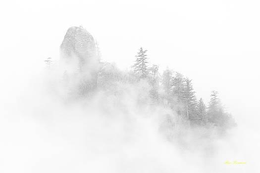 Beacon rock in the morning fog by Hans Franchesco