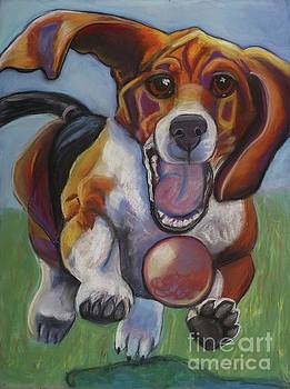 Beagle chasing Ball by Ann Hoff
