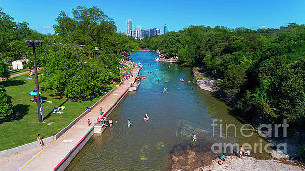 Herronstock Prints - Beautiful Aerial View from above over Barton Springs Pool in Zil