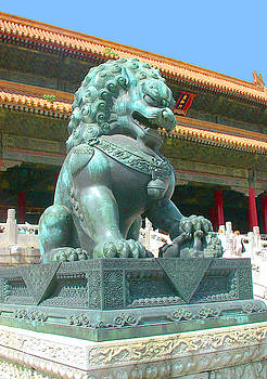 Beautiful bronze lion sculpture photo of the Forbidden City, Palace Museum, in Beijing, China. by Steve Clarke
