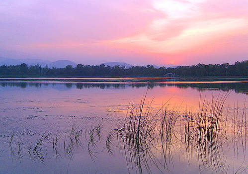 Beautiful calm lake at sunset by Steve Clarke