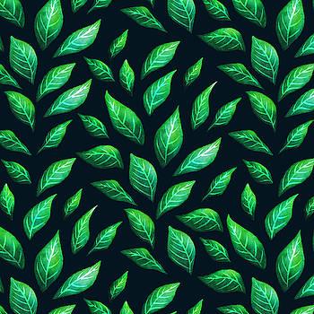 Beautiful Green Leaves Dark Pattern by Boriana Giormova