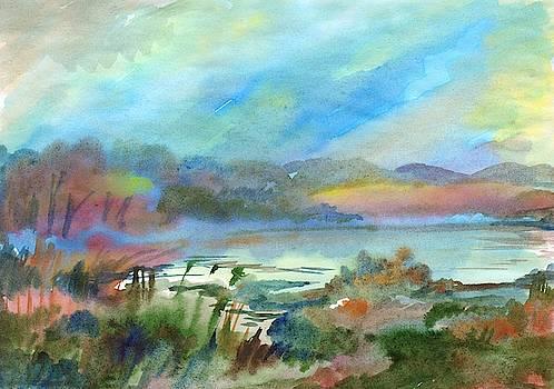Beautiful foggy morning on the lake by Irina Dobrotsvet