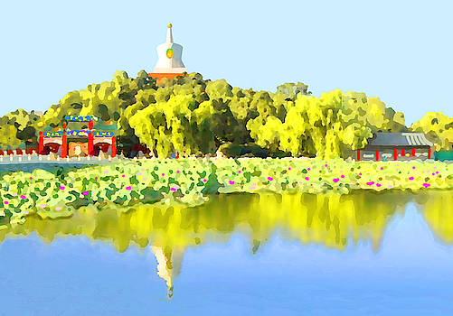Beautiful painting of Beihai Park, Beijing, China by Steve Clarke