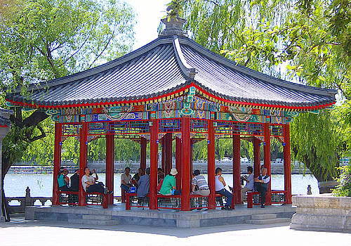 Beautiful pavilion in Beihai Park, Beijing, China photograph by Steve Clarke