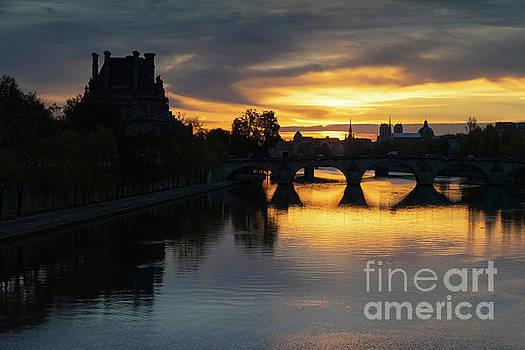 Beautiful Romantic Evening Walk Along The Seine River Paris France by Wayne Moran