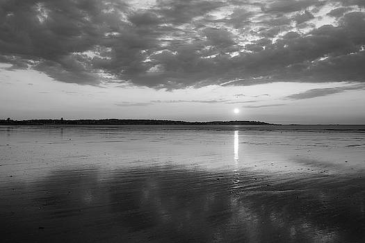 Toby McGuire - Beautiful Sunrise over Nahant Beach Reflection Nahant MA Black and White