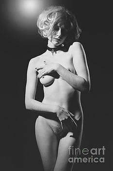Beautiful Woman sensual Nude. Image with old film grain finish. by William Langeveld