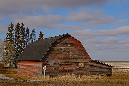 Red Barn on Blue Prairie Sky by Images Undefined