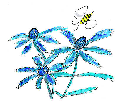 Bee and thistles by Steve Clarke