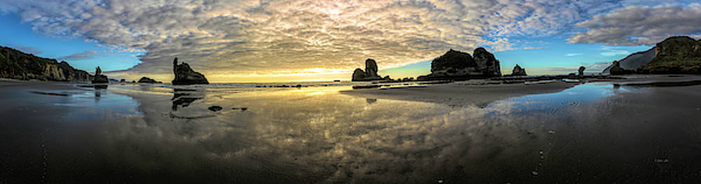 Before Sunset Motukiekie Beach Pano In Greymouth West Coast New Zealand By Olena Art by OLena Art Brand