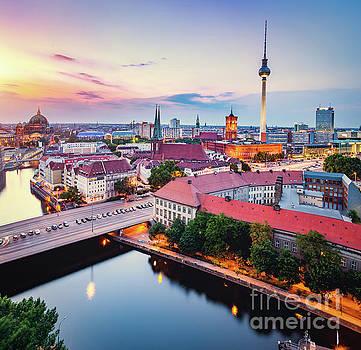 Berlin, Germany at sunset. by Michal Bednarek