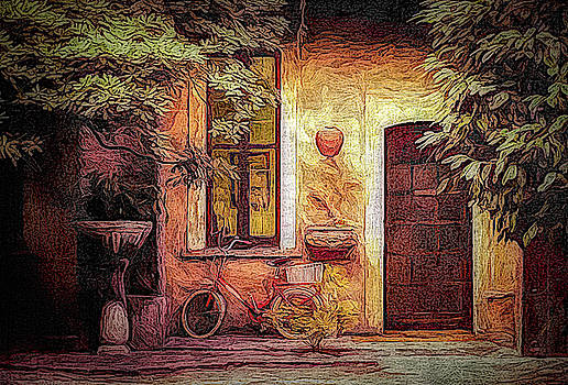 Bicycle In A Rome Courtyard by Robert Meyerson