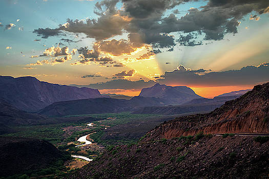 Big Bend Sunset Glory by Harriet Feagin