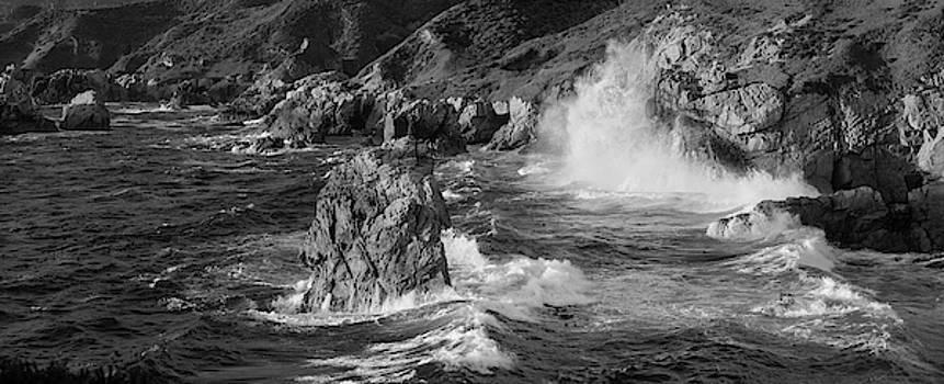 Big Sur Panorama B W by Steve Gadomski