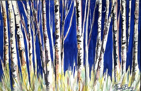 Birch Trees and a Sliver Moon by Therese Fowler-Bailey