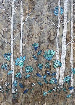 Birches and Blue Flowers by Janyce Boynton