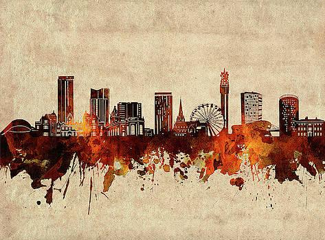 Birmingham Skyline Sepia by Bekim Art