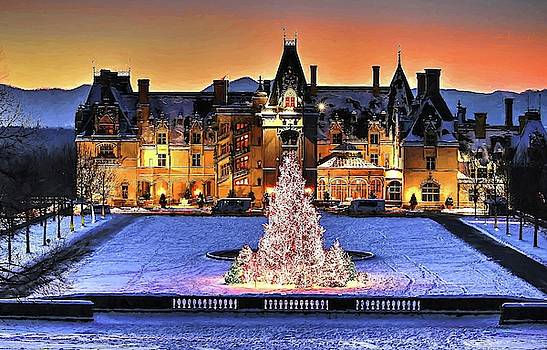 Biltmore Christmas Night all Covered In Snow Painting by Carol Montoya