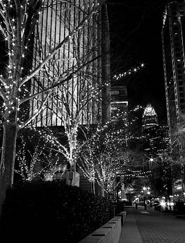 Black and White City Holiday Lights by Christine Buckley