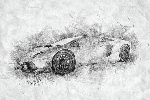 Michal Bednarek - Black and white drawing of sports car.