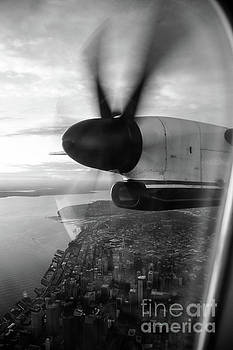 Black and White Look Down at Downtown Seattle From A Q400 by Joe Kunzler