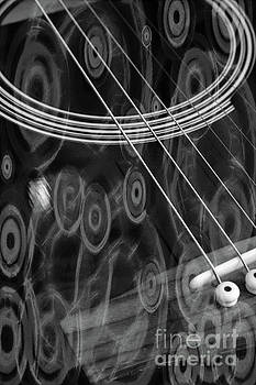 Black and White Overlay - Guitar  by Dee Winslow